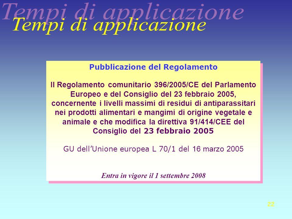 Pubblicazione del Regolamento Entra in vigore il 1 settembre 2008