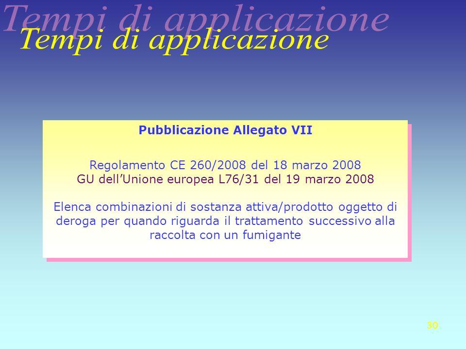 Pubblicazione Allegato VII