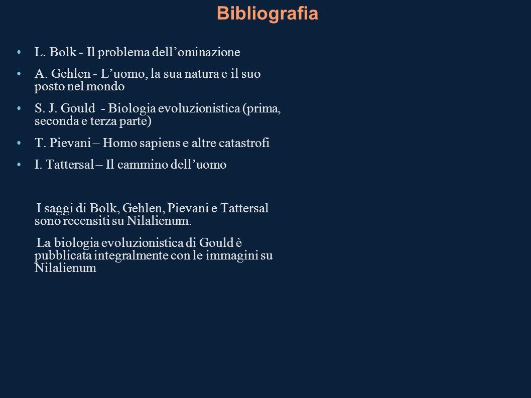 Bibliografia L. Bolk - Il problema dell'ominazione