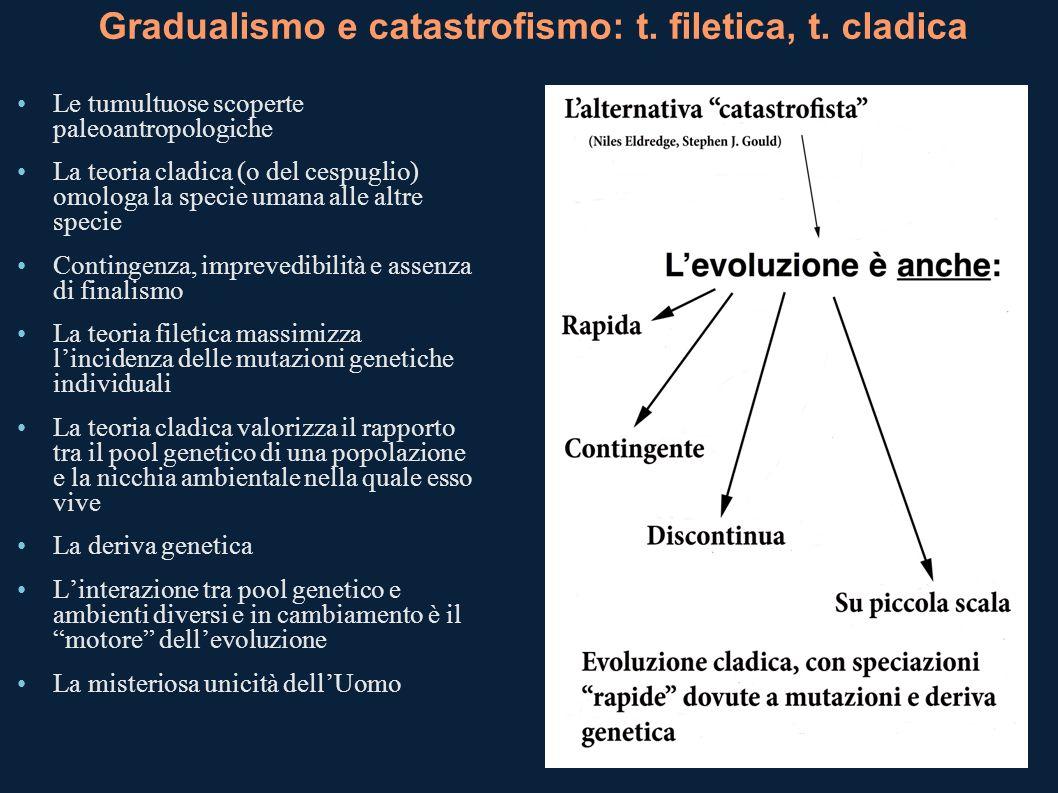 Gradualismo e catastrofismo: t. filetica, t. cladica