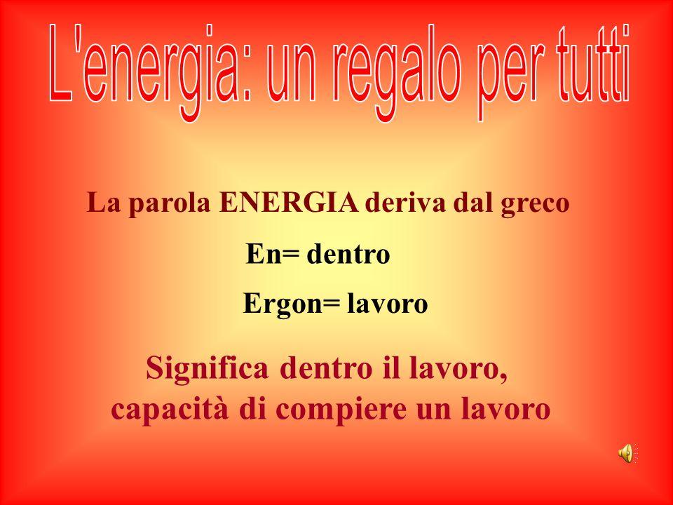 La parola ENERGIA deriva dal greco
