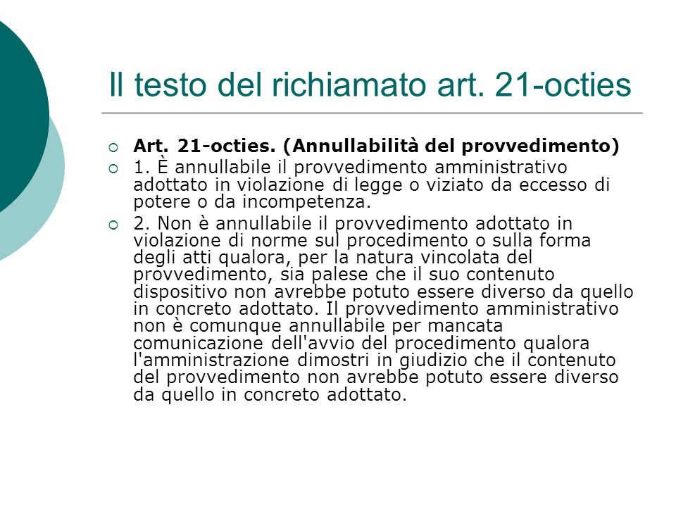 Il testo del richiamato art. 21-octies