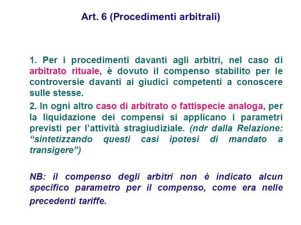 Art. 6 (Procedimenti arbitrali)
