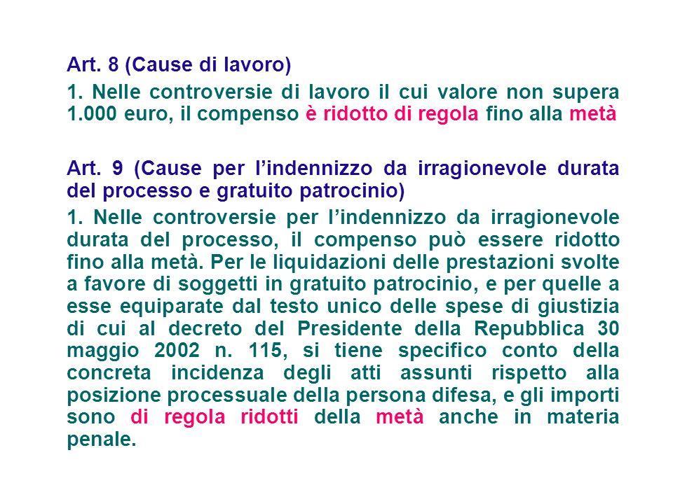 Art. 8 (Cause di lavoro) 1. Nelle controversie di lavoro il cui valore non supera 1.000 euro, il compenso è ridotto di regola fino alla metà.