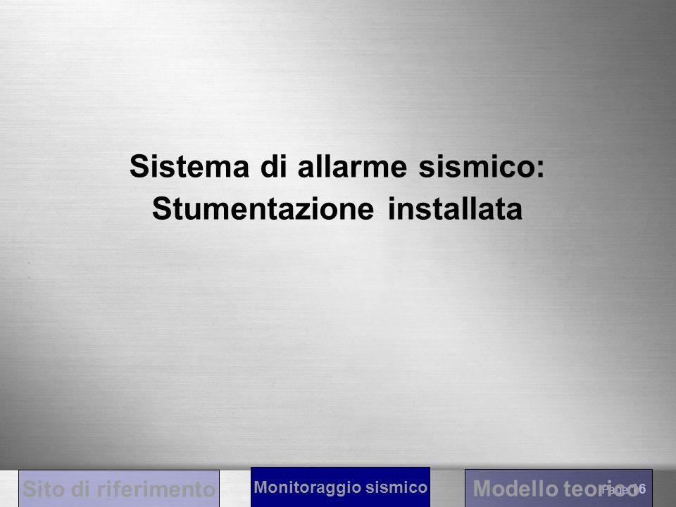 Sistema di allarme sismico: Stumentazione installata