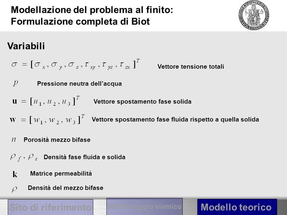 Modellazione del problema al finito: Formulazione completa di Biot