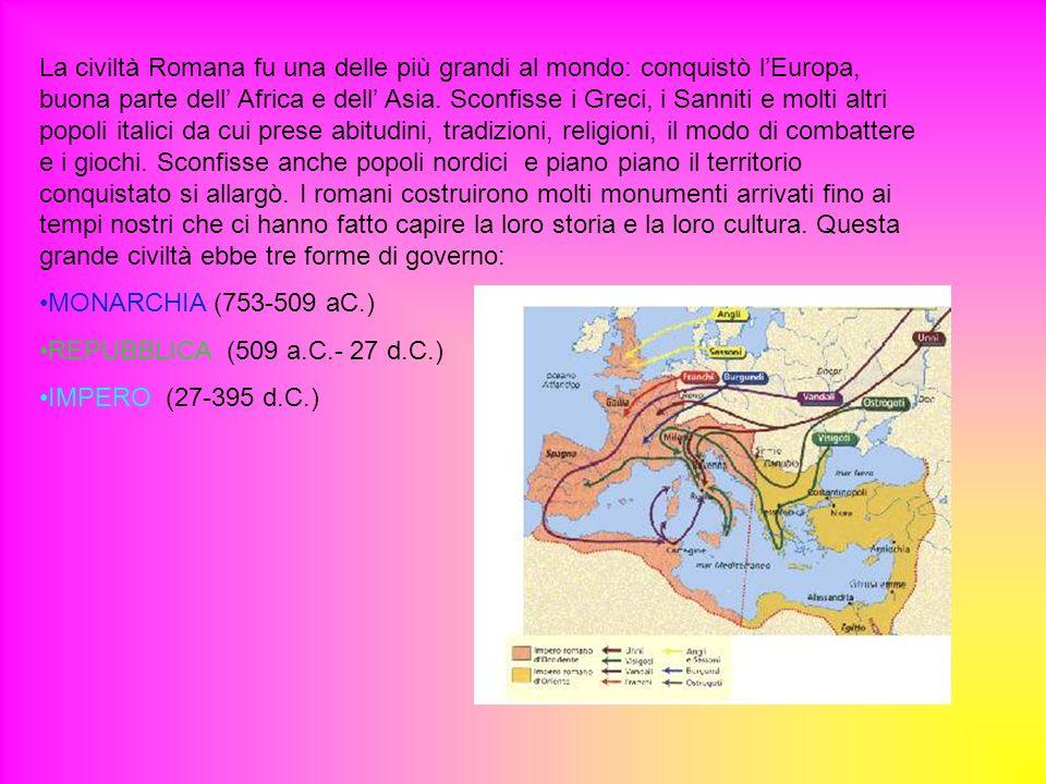 La civiltà Romana fu una delle più grandi al mondo: conquistò l'Europa, buona parte dell' Africa e dell' Asia. Sconfisse i Greci, i Sanniti e molti altri popoli italici da cui prese abitudini, tradizioni, religioni, il modo di combattere e i giochi. Sconfisse anche popoli nordici e piano piano il territorio conquistato si allargò. I romani costruirono molti monumenti arrivati fino ai tempi nostri che ci hanno fatto capire la loro storia e la loro cultura. Questa grande civiltà ebbe tre forme di governo: