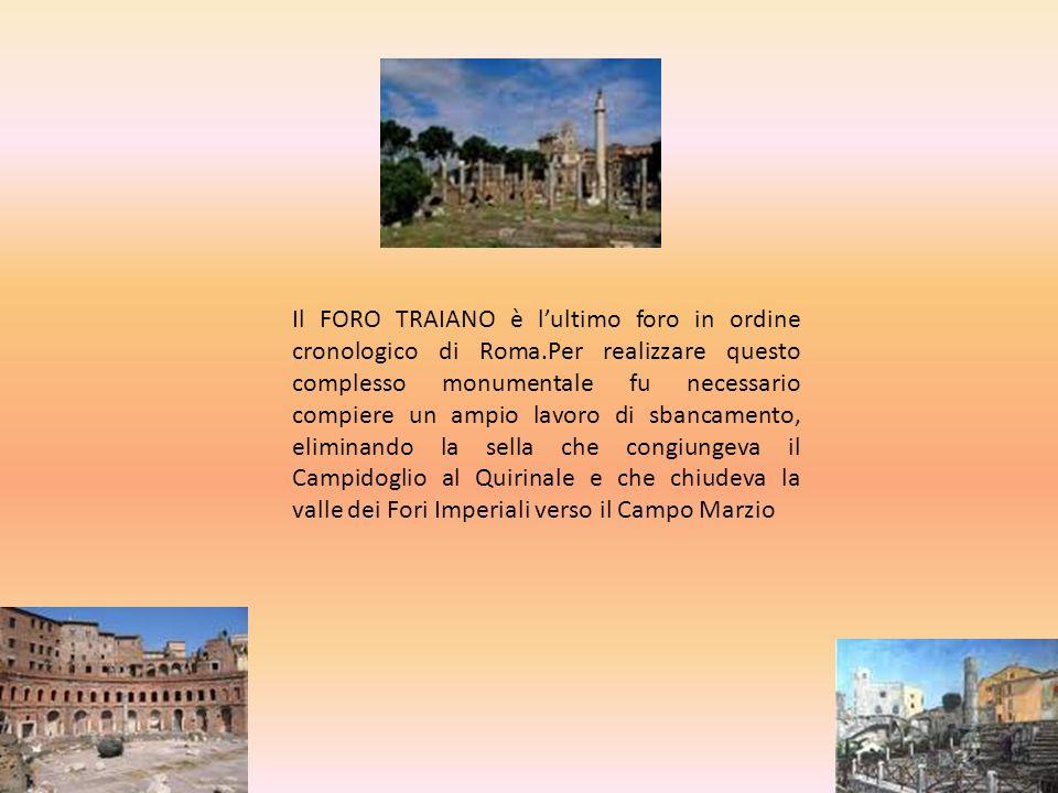 Il FORO TRAIANO è l'ultimo foro in ordine cronologico di Roma