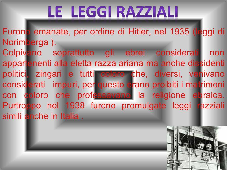 LE LEGGI RAZZIALIFurono emanate, per ordine di Hitler, nel 1935 (leggi di Norimberga ).