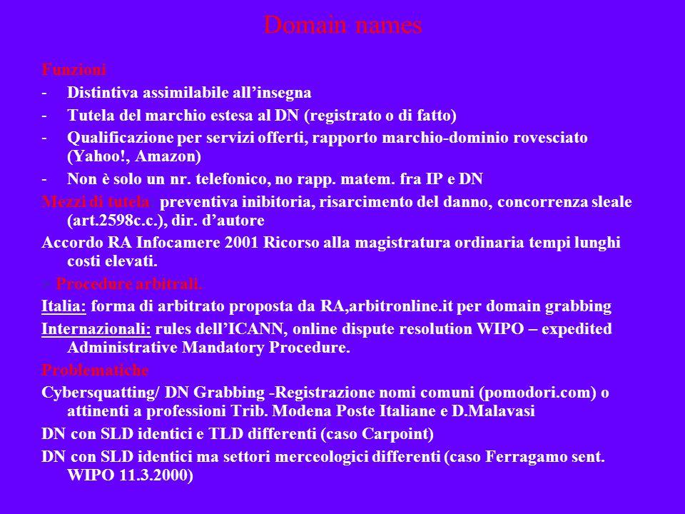Domain names Funzioni Distintiva assimilabile all'insegna