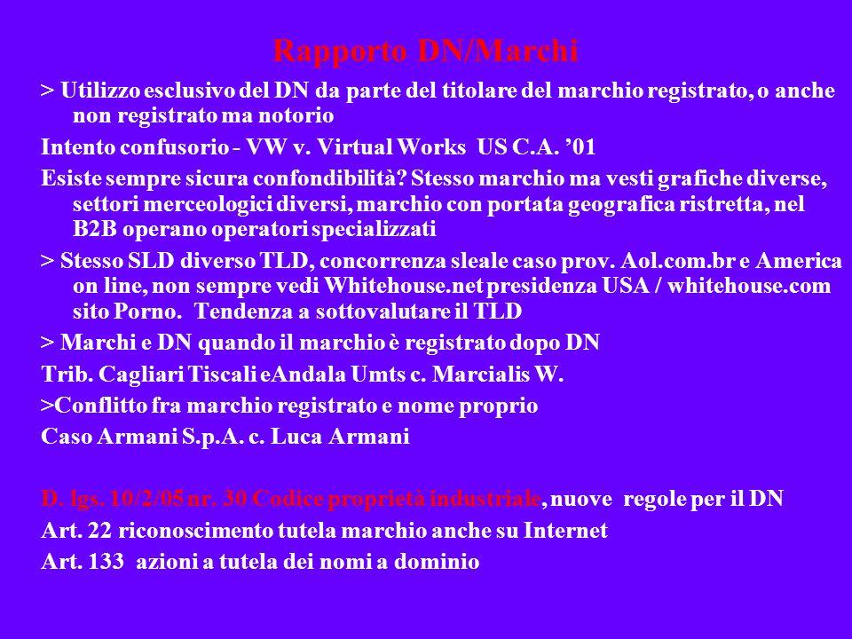 Rapporto DN/Marchi> Utilizzo esclusivo del DN da parte del titolare del marchio registrato, o anche non registrato ma notorio.
