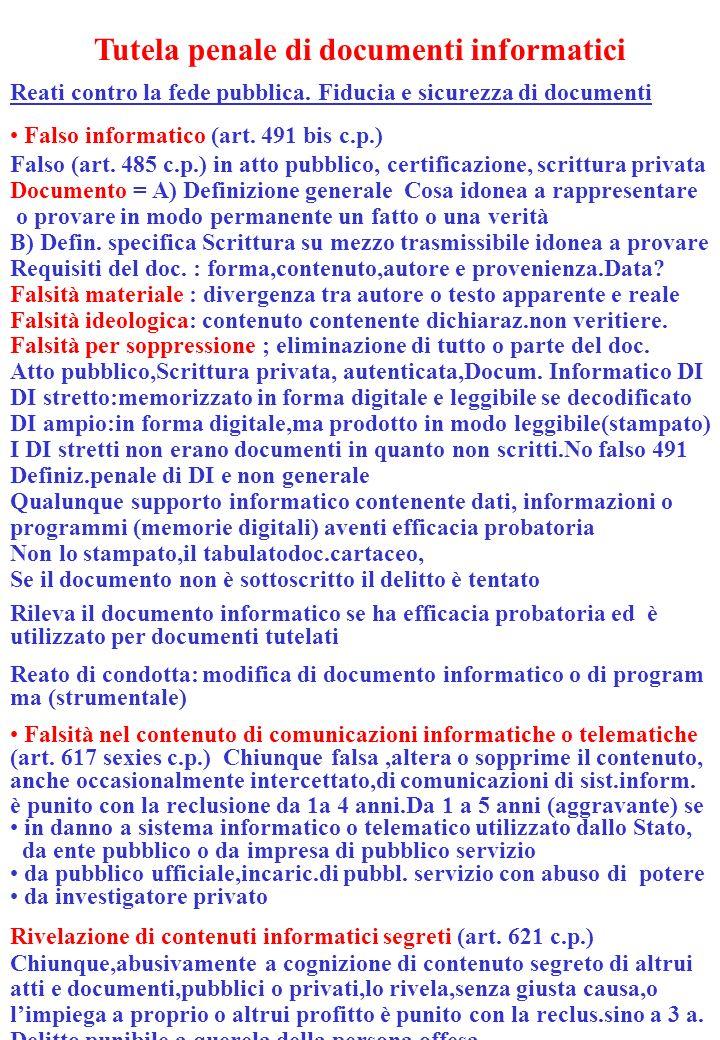 Tutela penale di documenti informatici