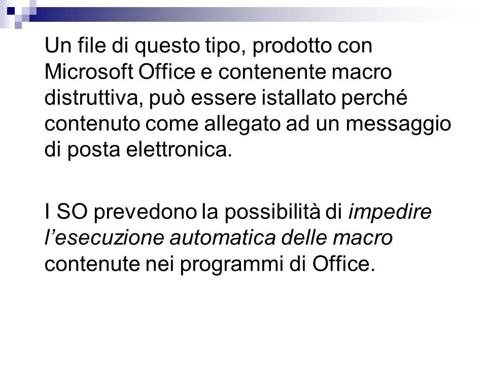 Un file di questo tipo, prodotto con Microsoft Office e contenente macro distruttiva, può essere istallato perché contenuto come allegato ad un messaggio di posta elettronica.