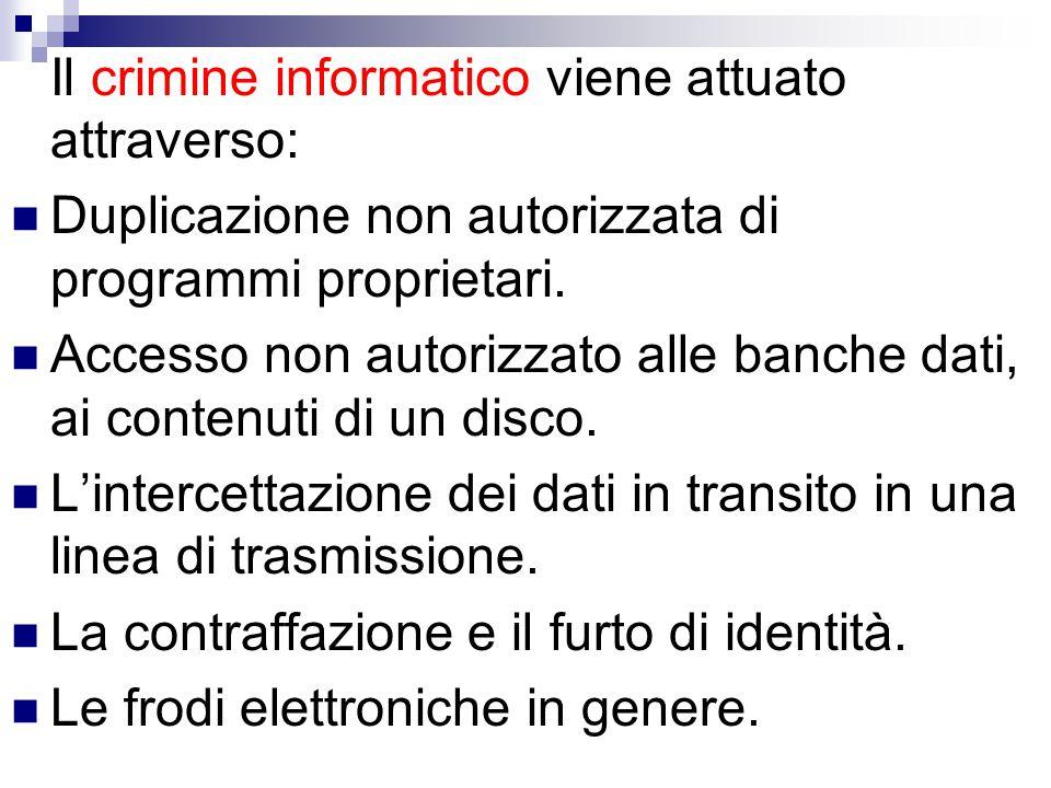Il crimine informatico viene attuato attraverso: