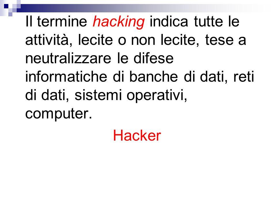 Il termine hacking indica tutte le attività, lecite o non lecite, tese a neutralizzare le difese informatiche di banche di dati, reti di dati, sistemi operativi, computer.