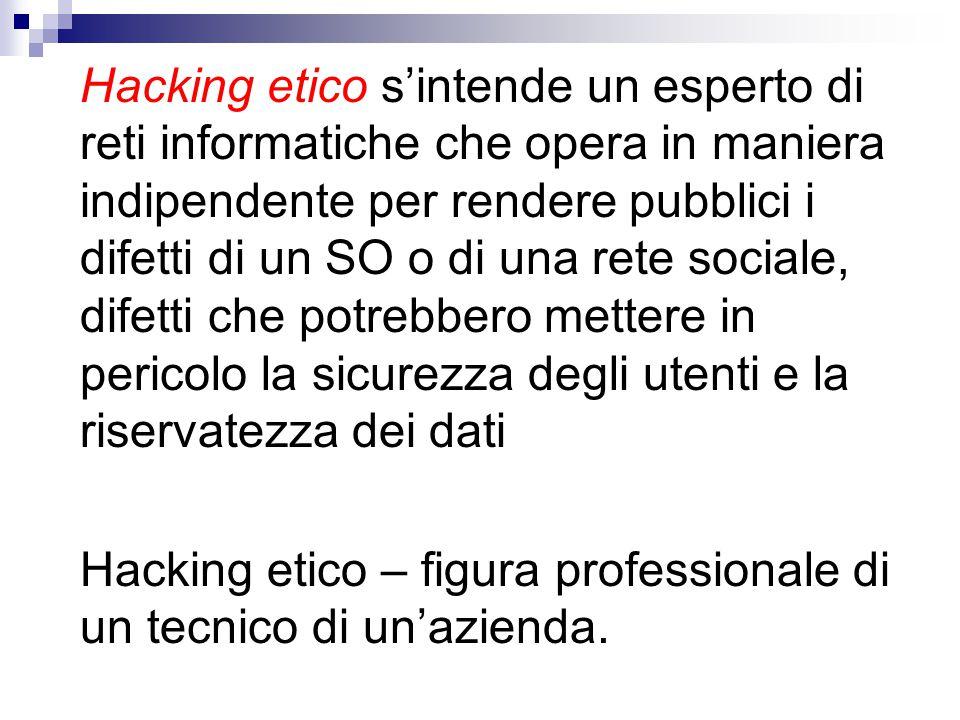 Hacking etico – figura professionale di un tecnico di un'azienda.