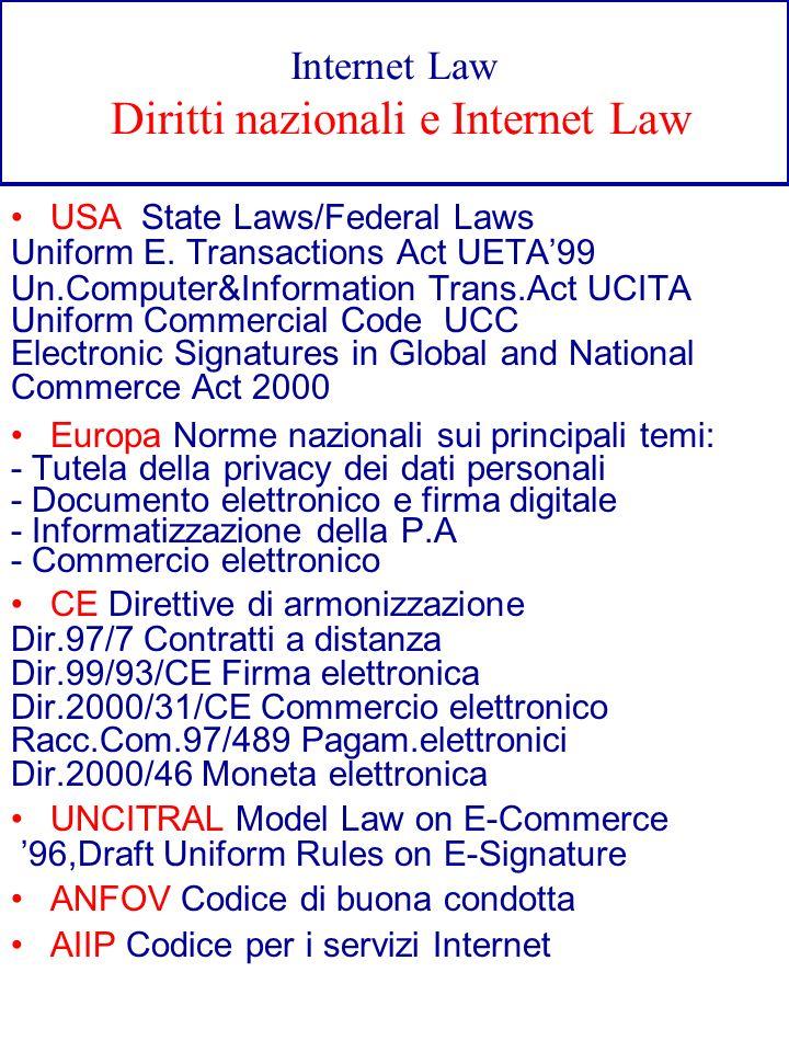 Internet Law Diritti nazionali e Internet Law