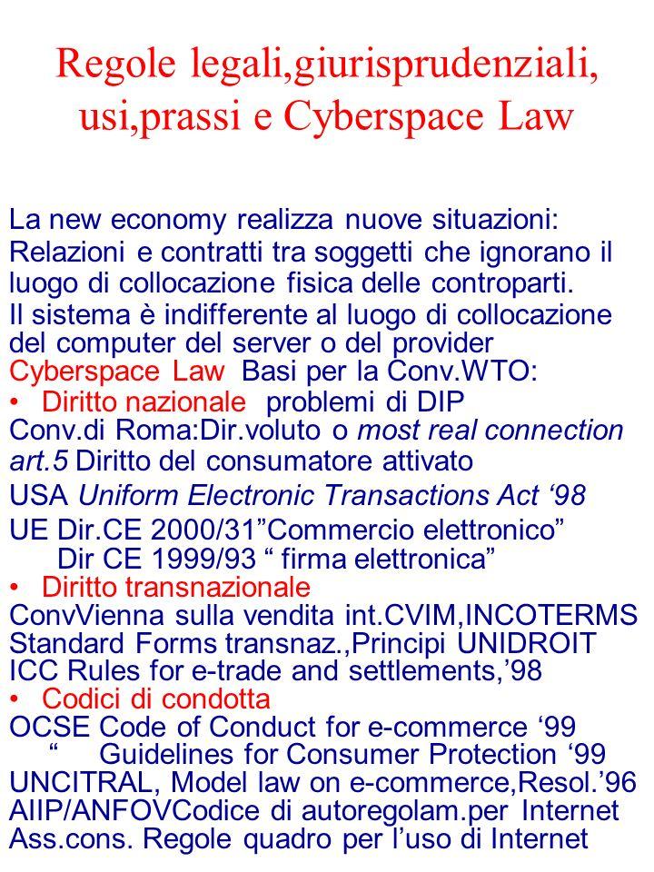 Regole legali,giurisprudenziali, usi,prassi e Cyberspace Law