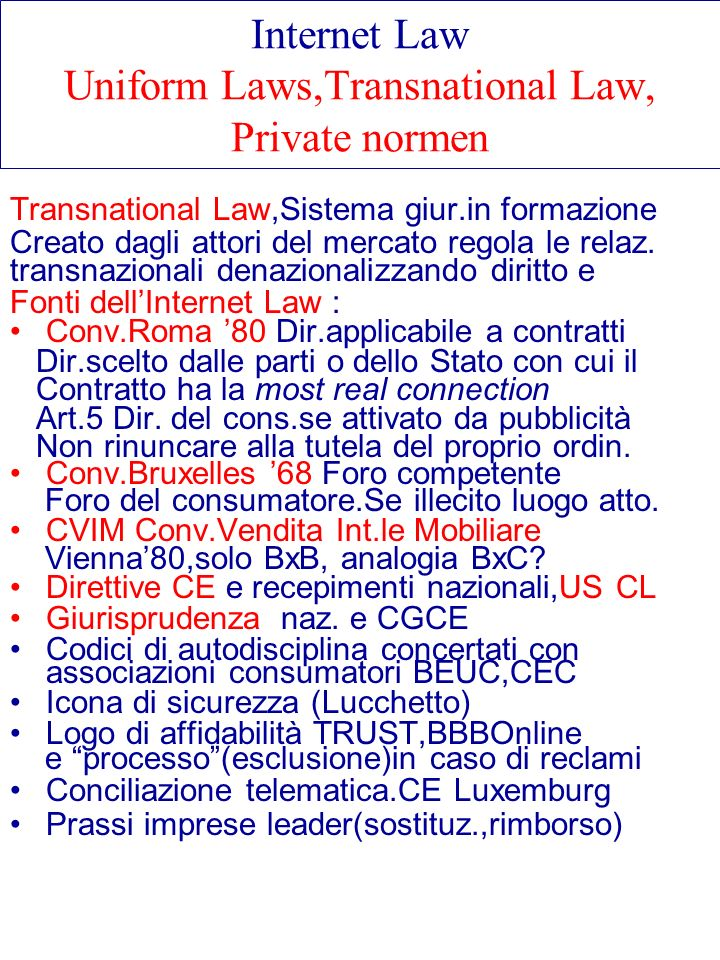 Internet Law Uniform Laws,Transnational Law, Private normen