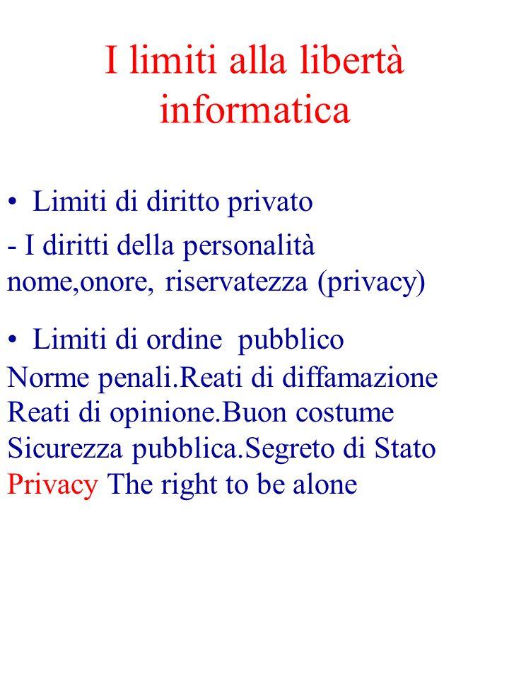 I limiti alla libertà informatica