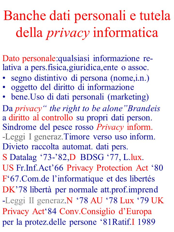 Banche dati personali e tutela della privacy informatica