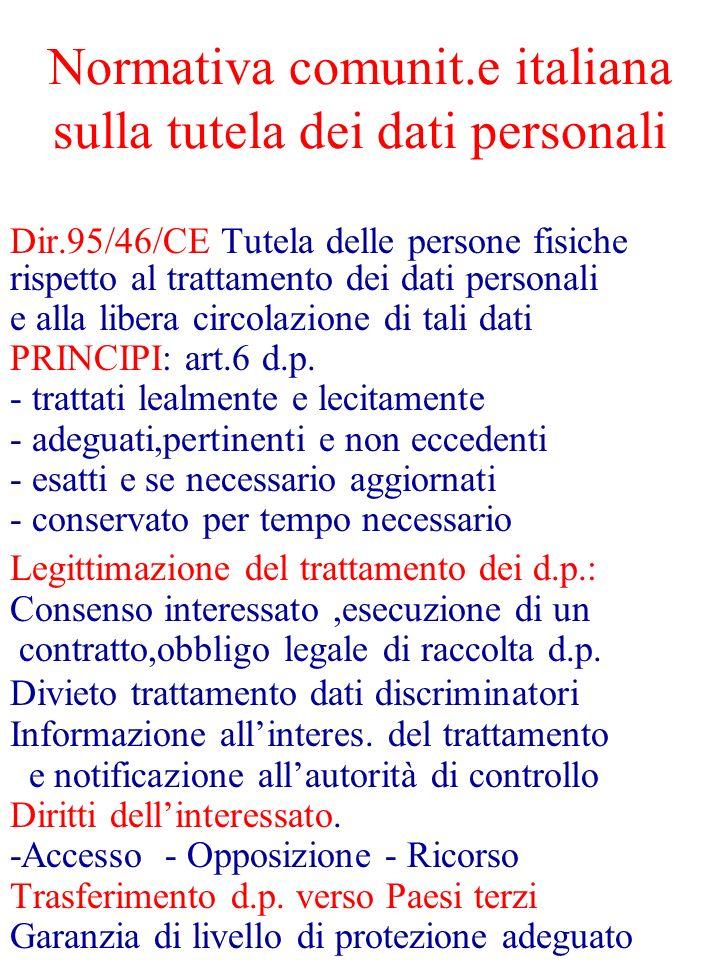 Normativa comunit.e italiana sulla tutela dei dati personali