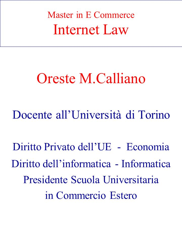 Master in E Commerce Internet Law