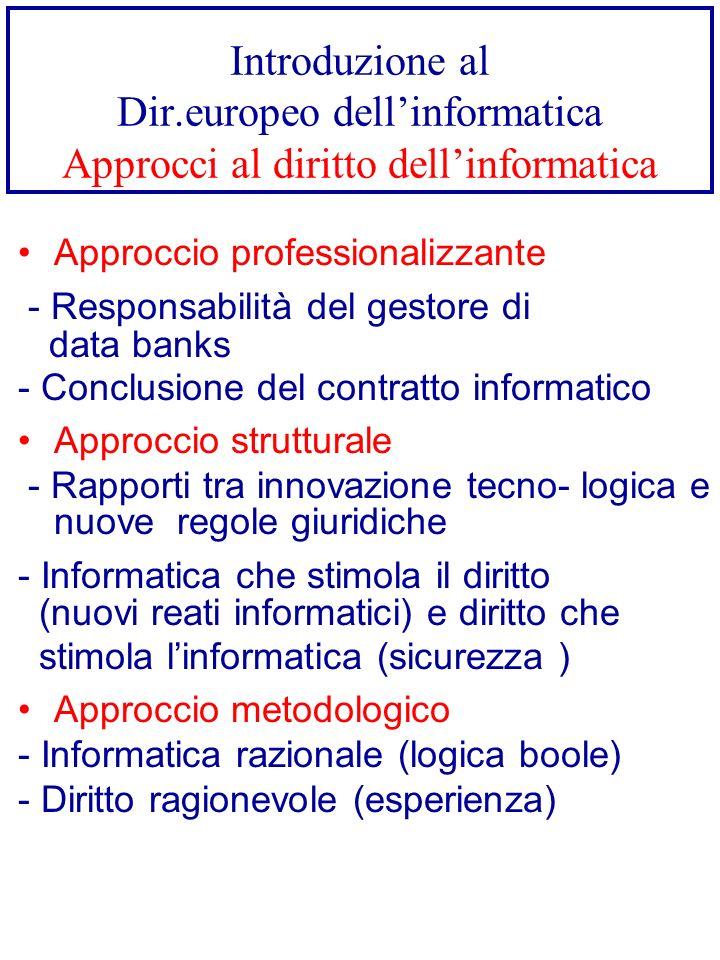Introduzione al Dir.europeo dell'informatica Approcci al diritto dell'informatica