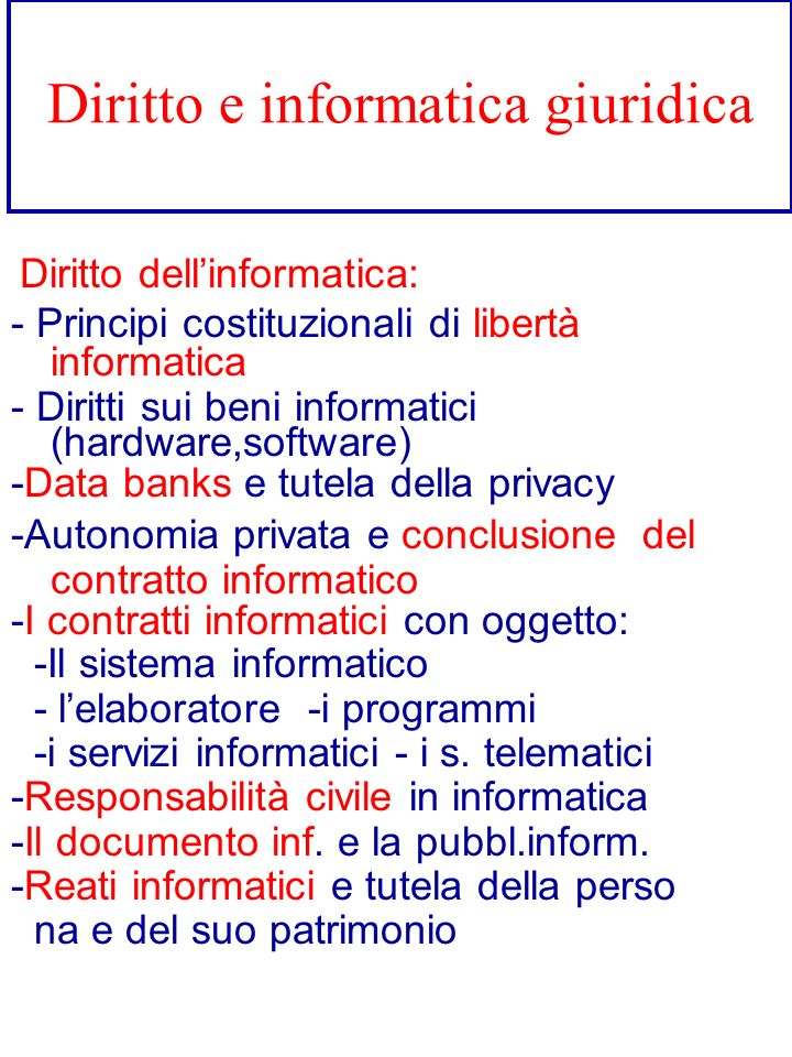 Diritto e informatica giuridica