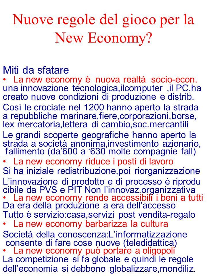 Nuove regole del gioco per la New Economy