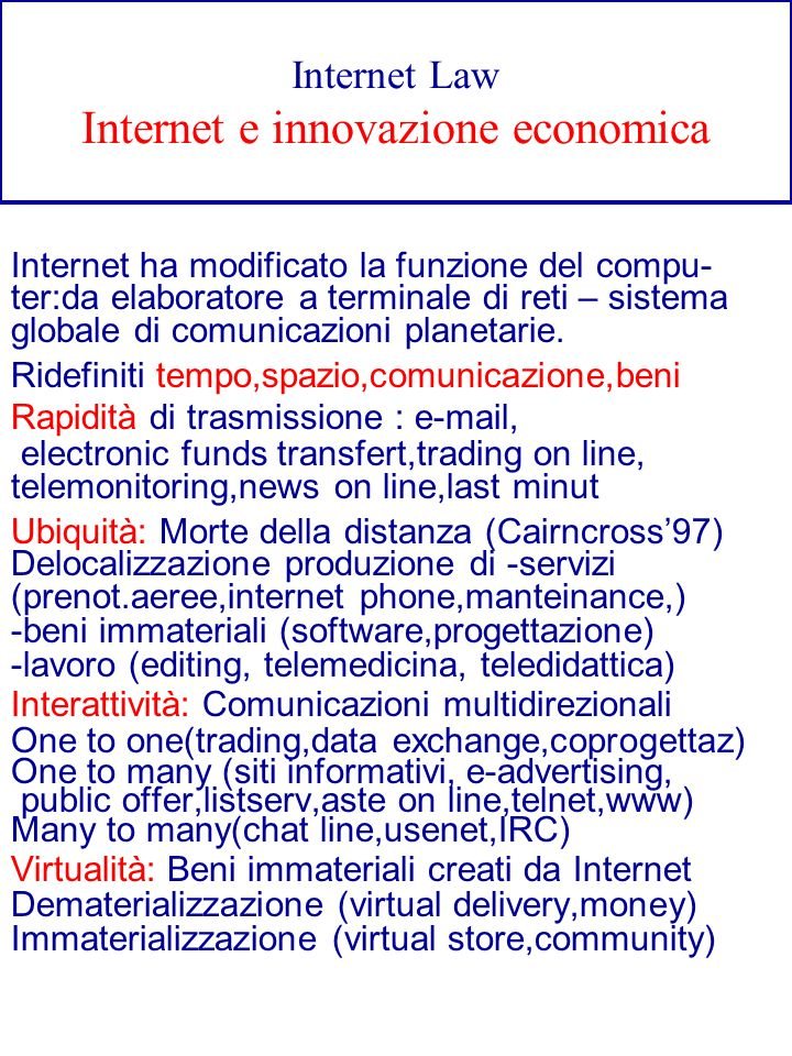 Internet Law Internet e innovazione economica