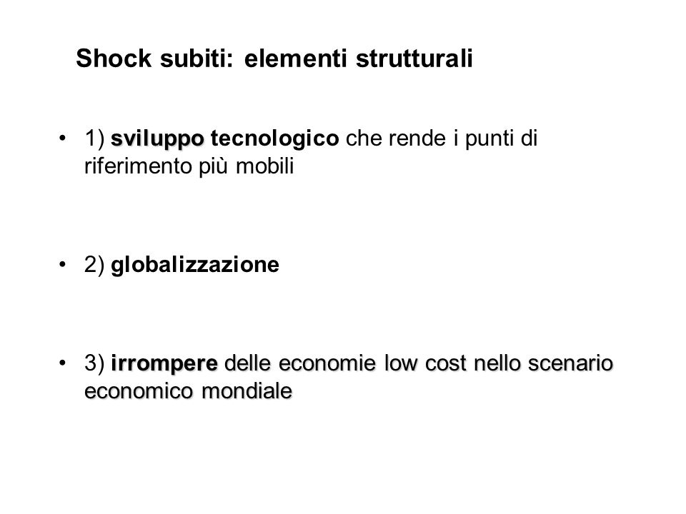 Shock subiti: elementi strutturali