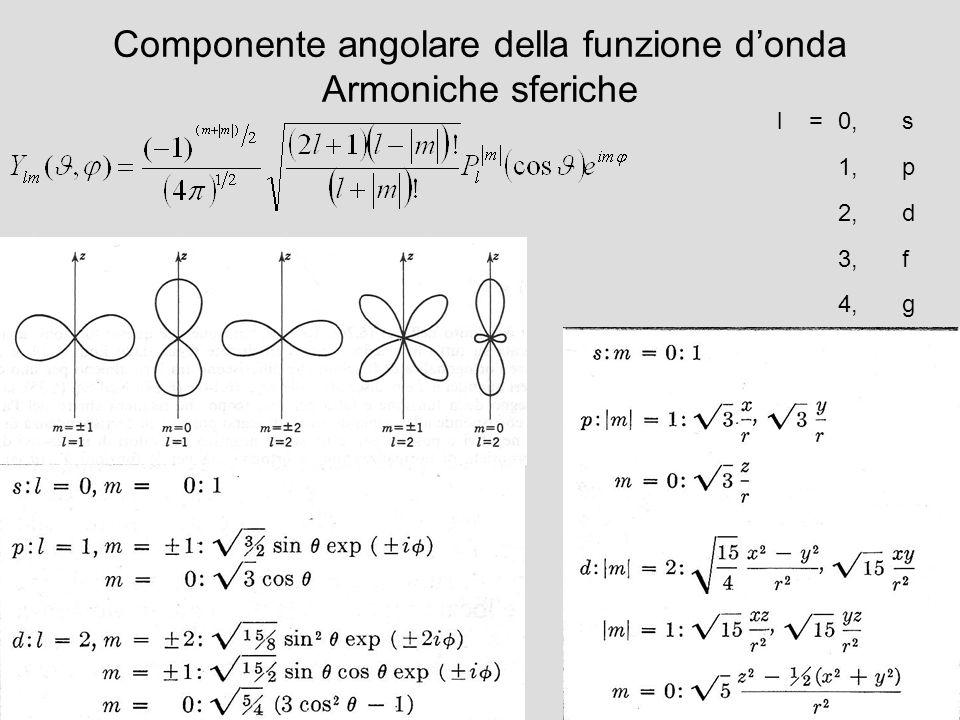 Componente angolare della funzione d'onda Armoniche sferiche
