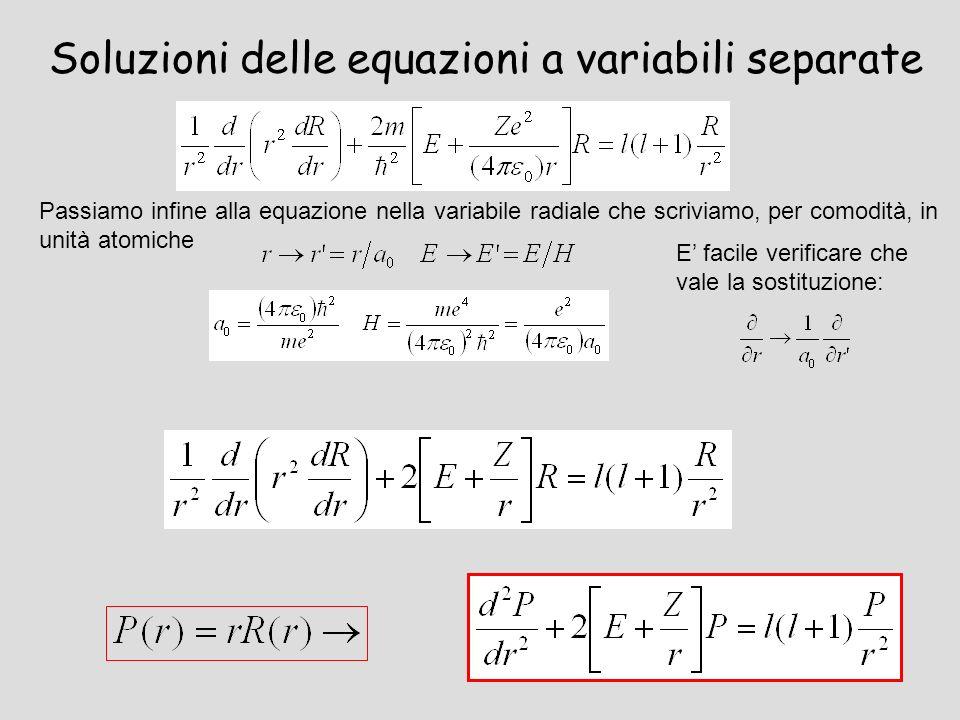 Soluzioni delle equazioni a variabili separate