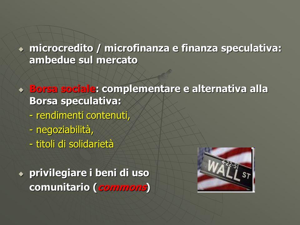 microcredito / microfinanza e finanza speculativa: ambedue sul mercato