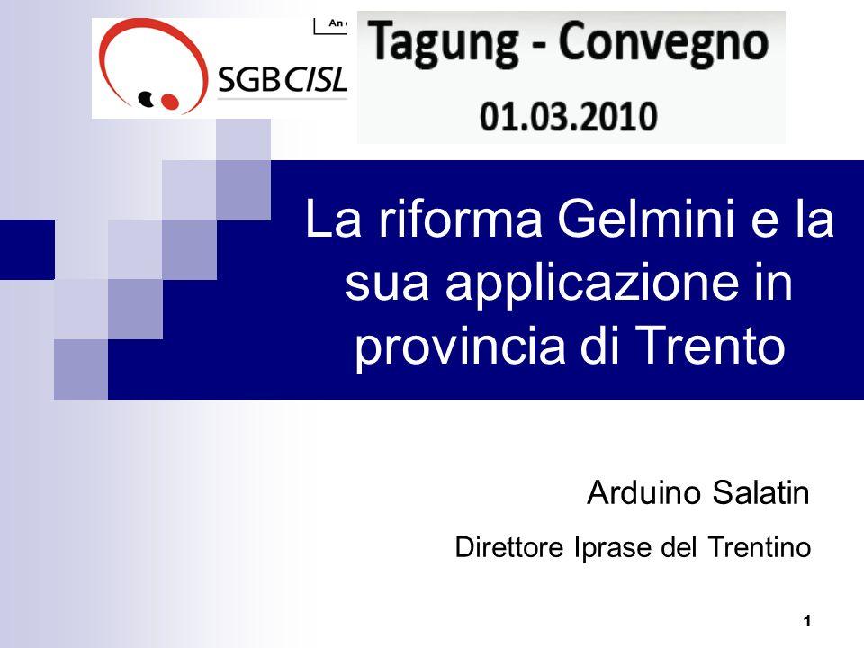 La riforma Gelmini e la sua applicazione in provincia di Trento