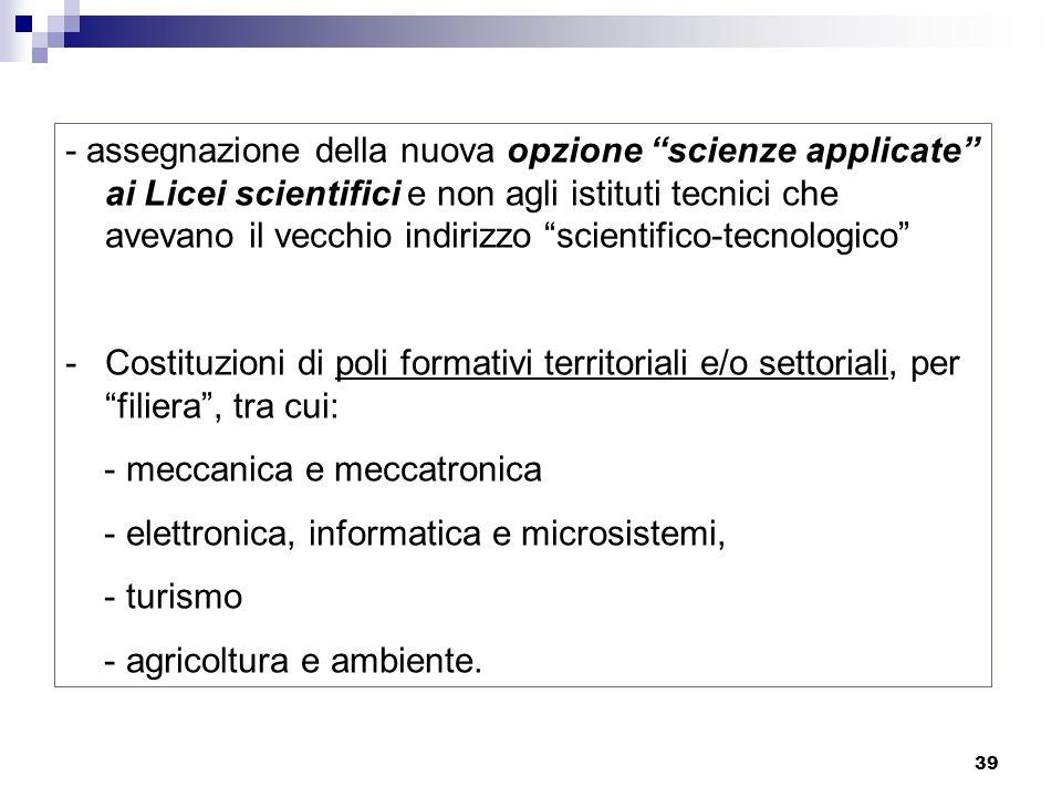 - assegnazione della nuova opzione scienze applicate ai Licei scientifici e non agli istituti tecnici che avevano il vecchio indirizzo scientifico-tecnologico