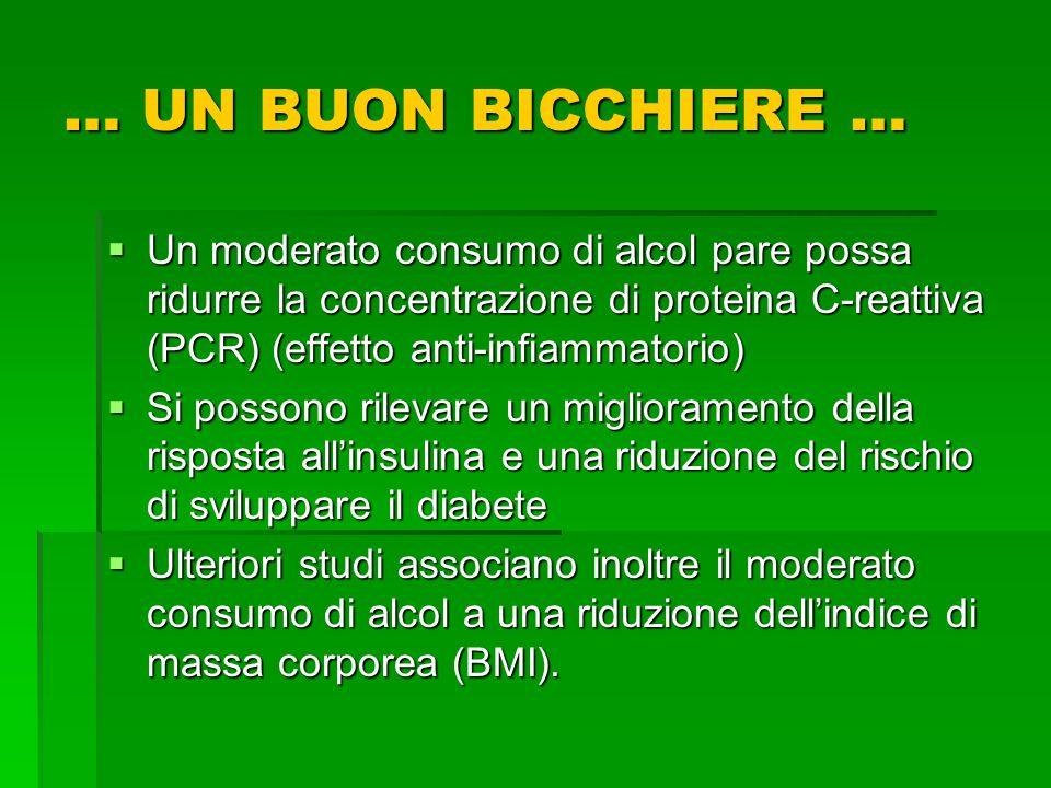 … UN BUON BICCHIERE … Un moderato consumo di alcol pare possa ridurre la concentrazione di proteina C-reattiva (PCR) (effetto anti-infiammatorio)