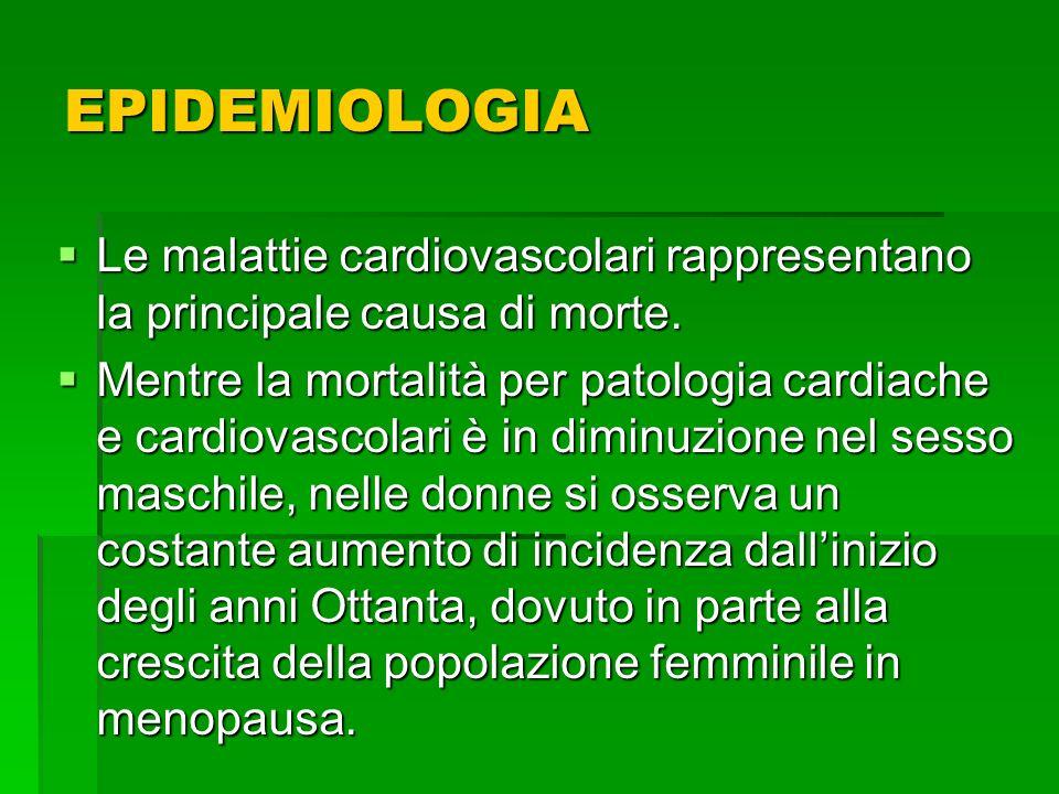 EPIDEMIOLOGIA Le malattie cardiovascolari rappresentano la principale causa di morte.