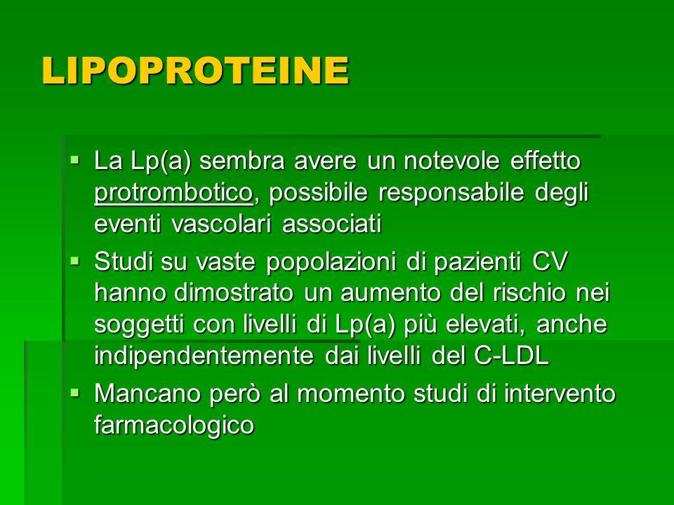 LIPOPROTEINE La Lp(a) sembra avere un notevole effetto protrombotico, possibile responsabile degli eventi vascolari associati.