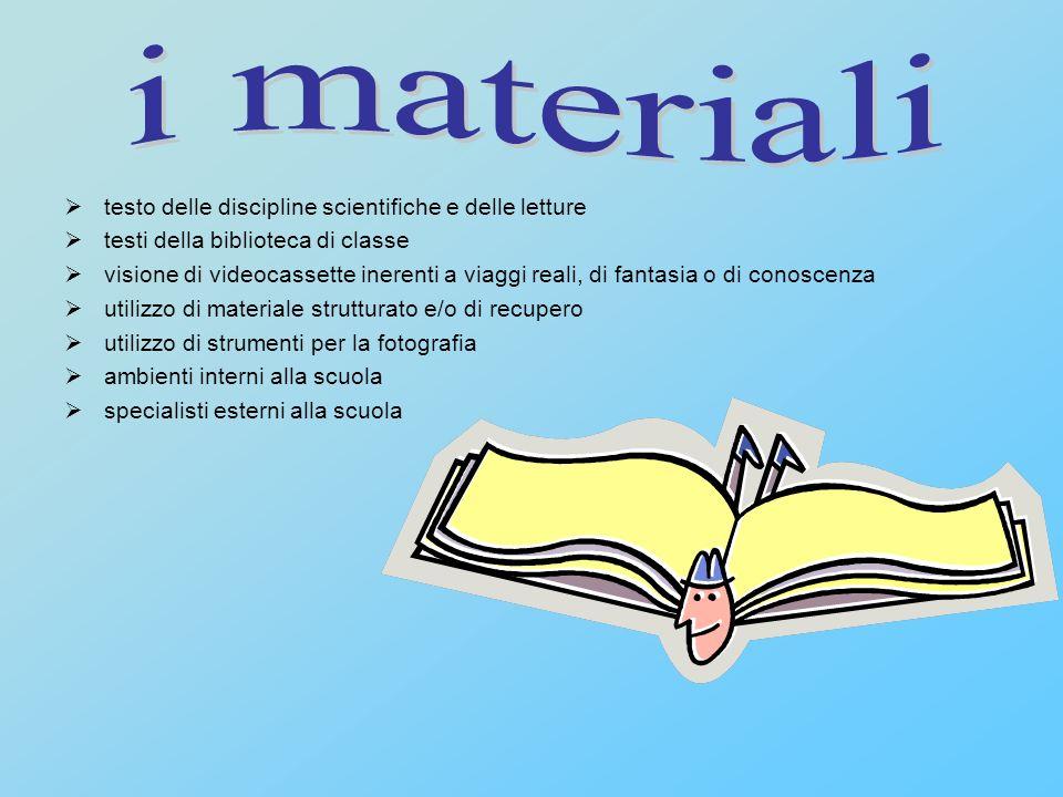 i materiali testo delle discipline scientifiche e delle letture