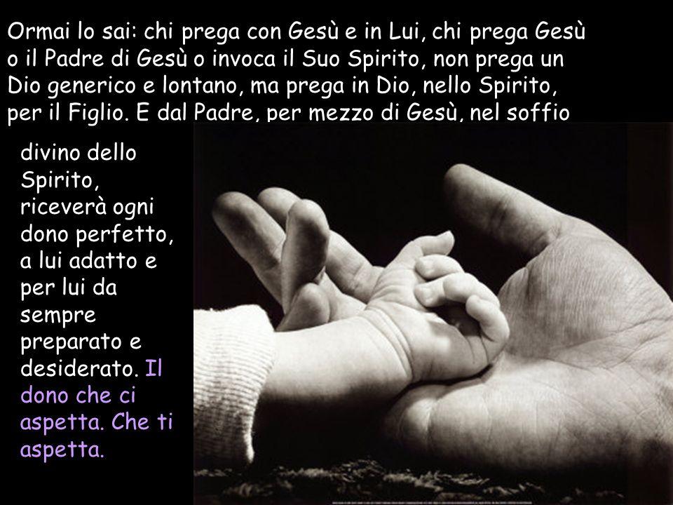 Ormai lo sai: chi prega con Gesù e in Lui, chi prega Gesù o il Padre di Gesù o invoca il Suo Spirito, non prega un Dio generico e lontano, ma prega in Dio, nello Spirito, per il Figlio. E dal Padre, per mezzo di Gesù, nel soffio