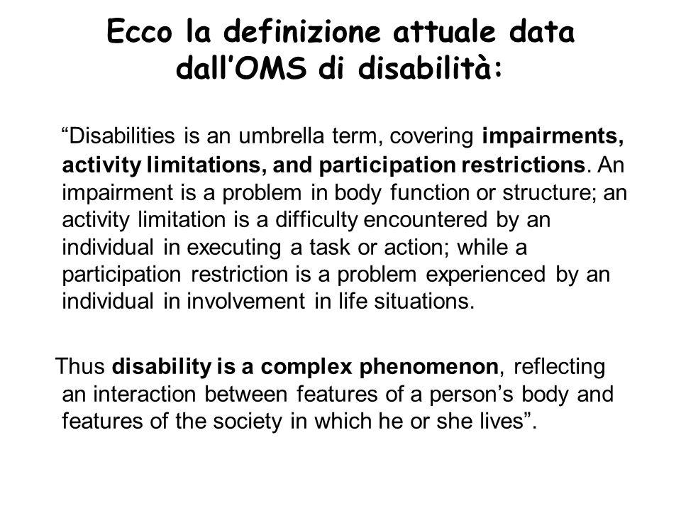 Ecco la definizione attuale data dall'OMS di disabilità: