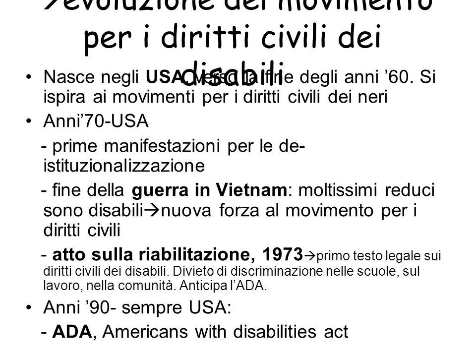 evoluzione del movimento per i diritti civili dei disabili