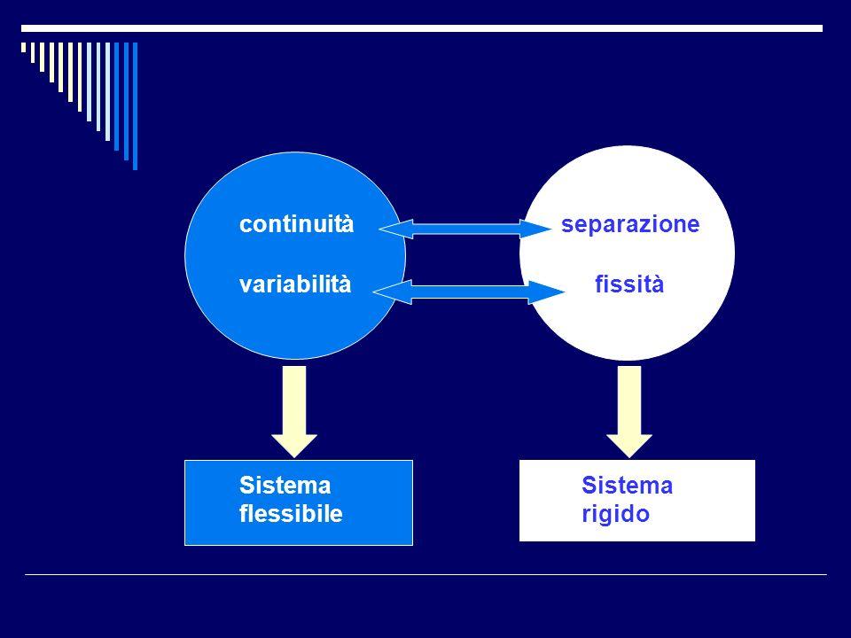 continuità separazione variabilità fissità Sistema flessibile