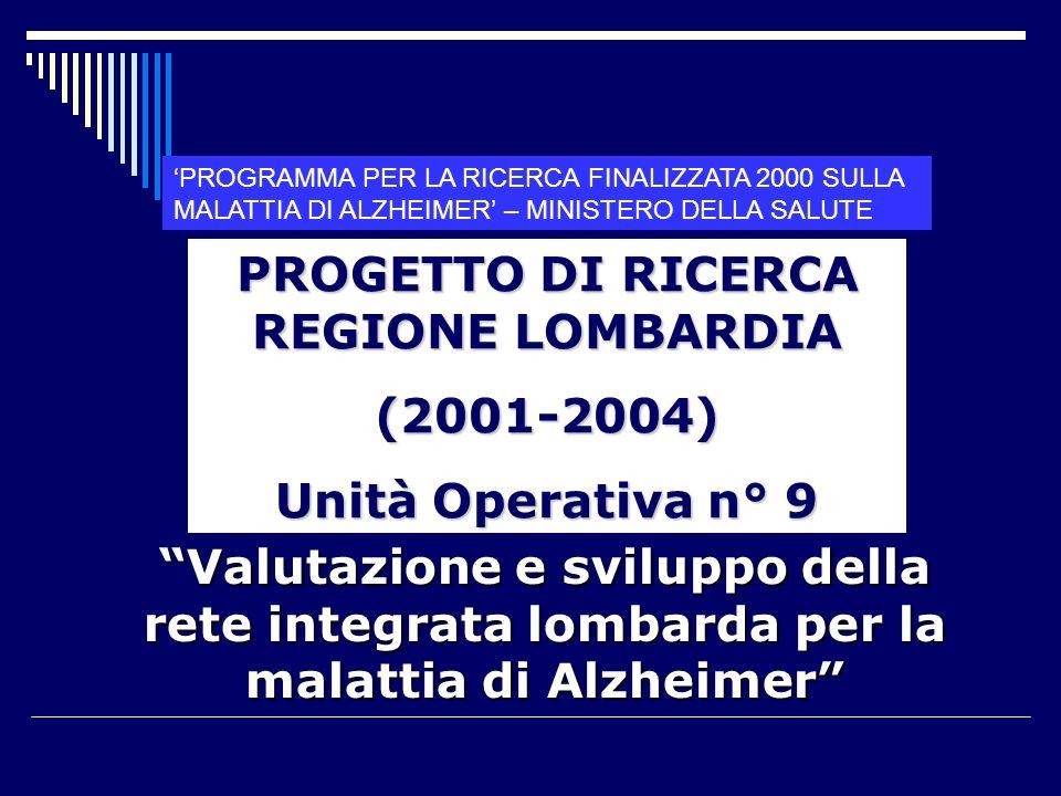 PROGETTO DI RICERCA REGIONE LOMBARDIA