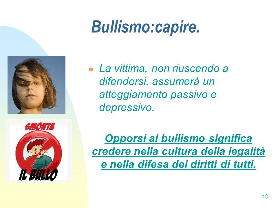 Bullismo:capire. La vittima, non riuscendo a difendersi, assumerà un atteggiamento passivo e depressivo.