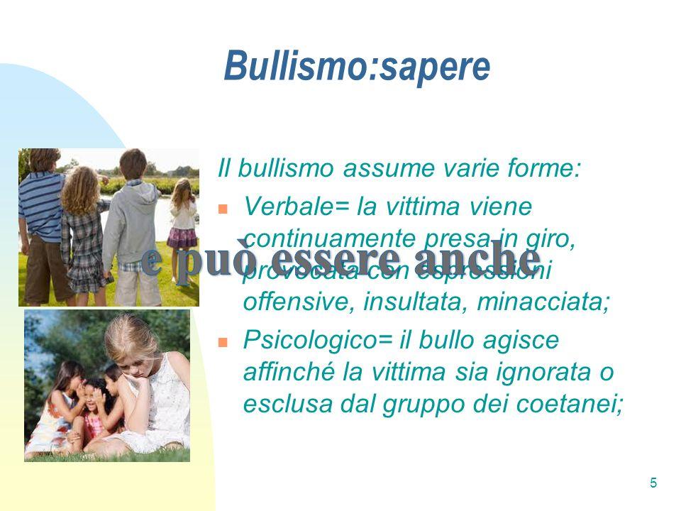 e può essere anche Bullismo:sapere Il bullismo assume varie forme: