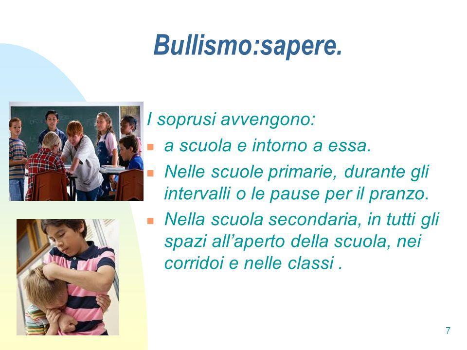 Bullismo:sapere. I soprusi avvengono: a scuola e intorno a essa.
