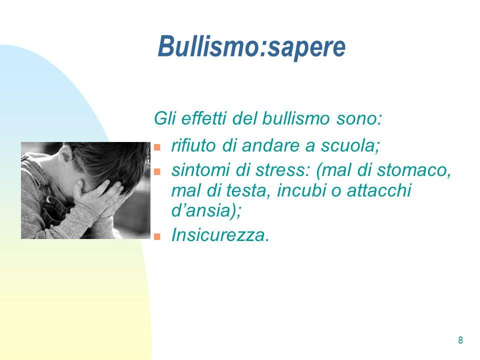 Bullismo:sapere Gli effetti del bullismo sono: